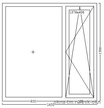 Двухстворчатое пластиковое окно 1450Х1500 Rehau Sib
