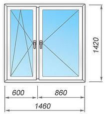 Металлопластиковое окно двустворчатое 1460х1420 мм Rehau