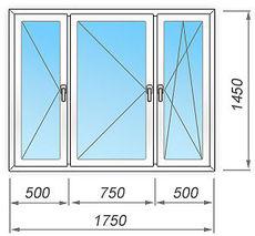 Окно пластиковое трехстворчатое   1750х1450  мм Rehau