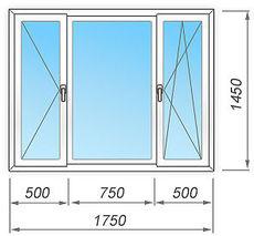 Металлопластиковое окно  1750х1450 мм трёхстворчатое