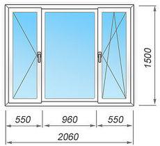 Металлопластиковое окно  2060х1500 на три створки