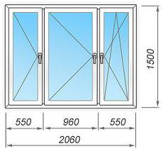 Металлопластиковое окно  2060х1500 мм трёхстворчатое