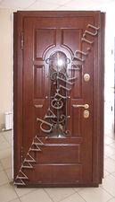 Металлическая входная дверь с кованной решеткой и стеклопакетом — Кови плюс